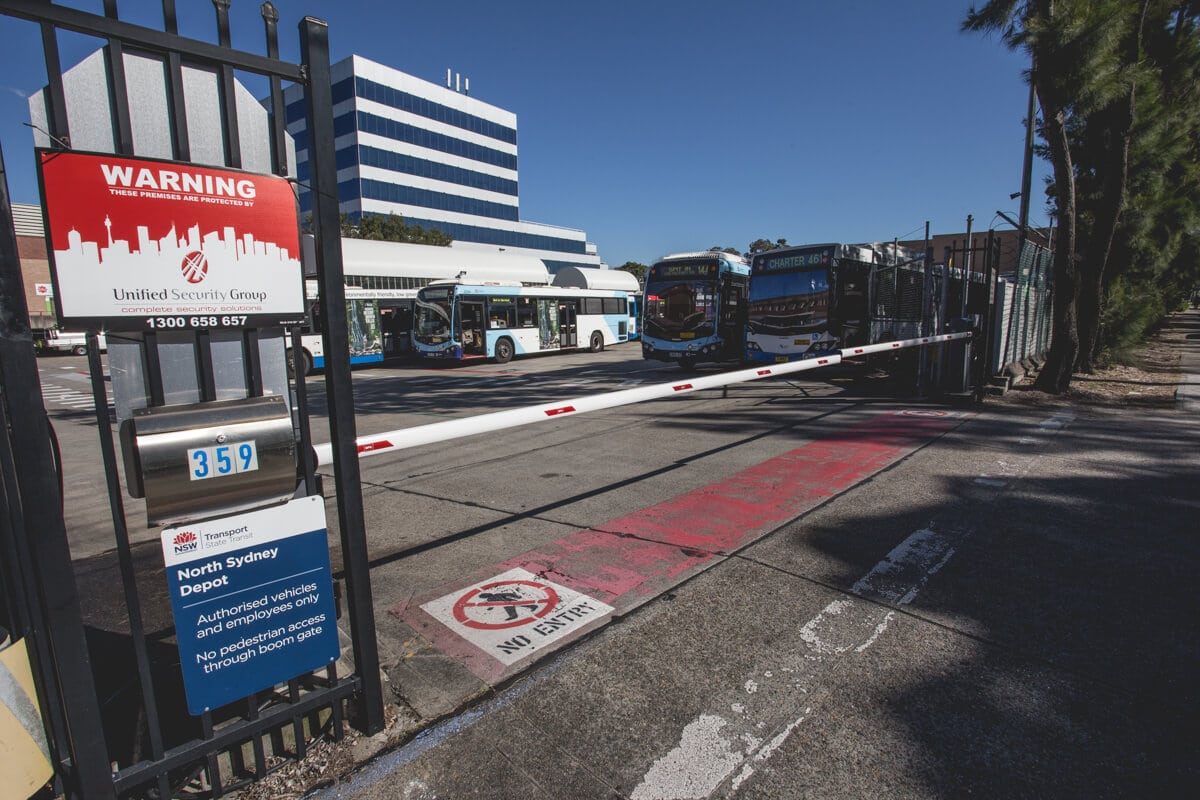 Commercial automatic boom gates North Sydney bus depot