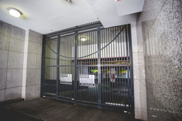 Commercial automatic swinging gates Sydney City Meriton apartment car park
