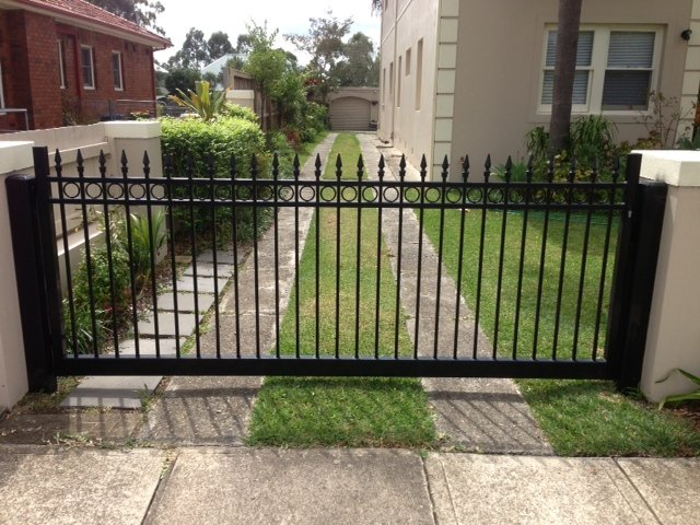 Automatic swinging gates Creators Range circles with spear top Sydney